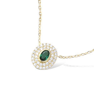 Collier Plaqué-Or Ovale Vert