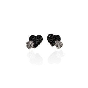 Boucles d'Oreilles Argent Cœurs Noirs et Blancs