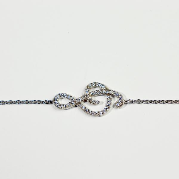 bracelet argent clef de sol oxydes de zirconium