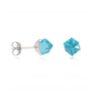 boucles d'oreilles en argent cube bleu