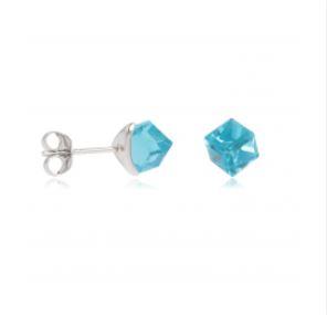 Boucles d'oreilles Argent Cube Bleu
