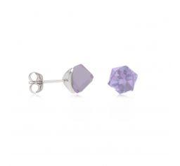 boucles d'oreilles en argent cube violet