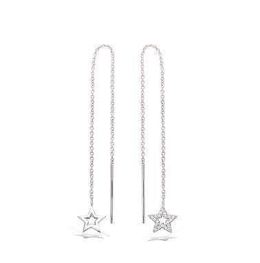 boucles d'oreilles en argent traversantes étoile