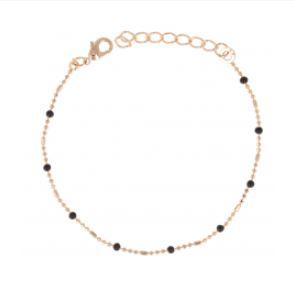 Bracelet Plaqué-Or Perles Noires