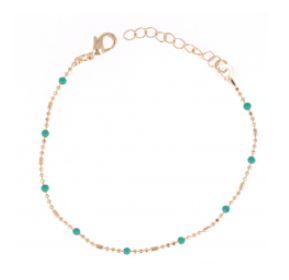 Bracelet Plaqué-Or Perles Turquoises