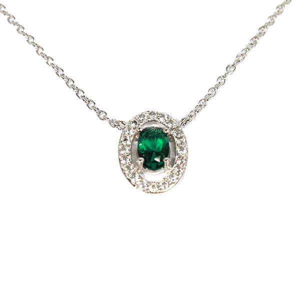 collier argent Juliette vert