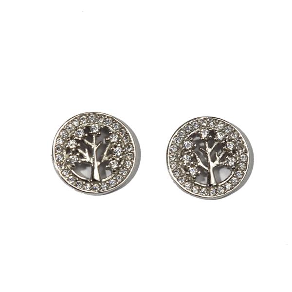 boucles oreilles arbre de vie zirconiums
