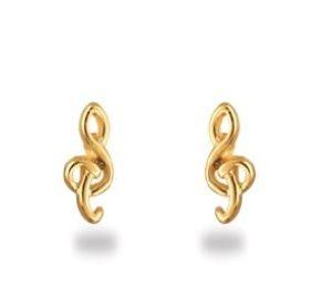 Boucles d'oreilles Plaqué-Or Petites Clefs de Sol