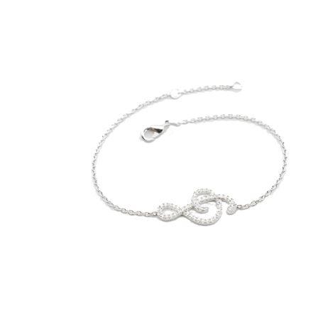 bracelet en argent clef de sol oxydes de zirconium