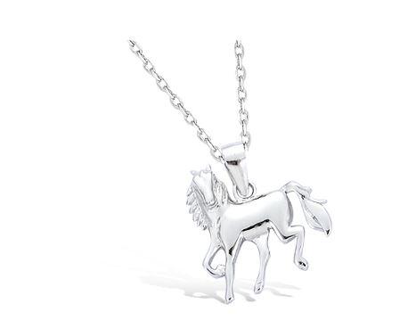 pendentif en argent cheval tourné